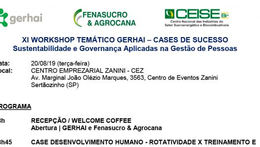 XI Workshop Temático GERHAI - Fenasucro & Agrocana