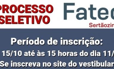 FATEC Sertãozinho - Processo Seletivo 2º semestre 2020