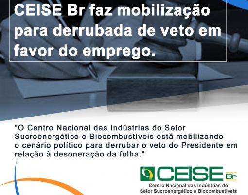 CEISE Br PRESSIONA CONGRESSO PARA A DERRUBADA DO VETO PRESIDENCIAL PARA A DESONERAÇÃO DA FOLHA.