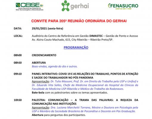 Convite: 205ª Reunião do GERHAI