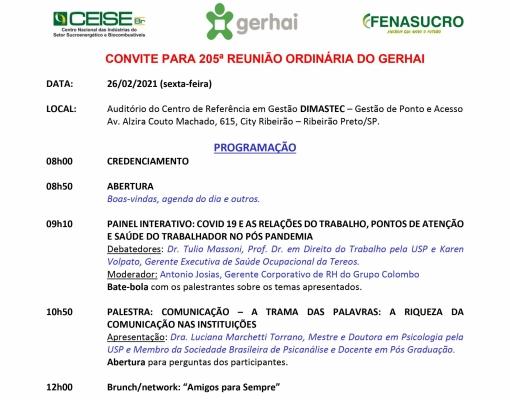 CONVITE 205ª REUNIÃO DO GERHAI