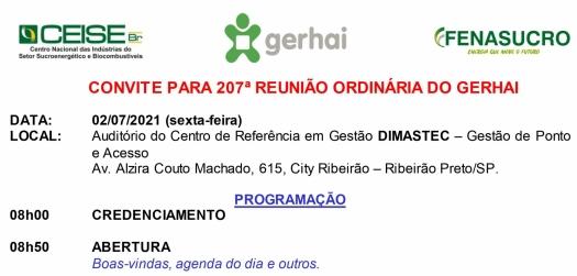 CONVITE 207ª REUNIÃO DO GERHAI