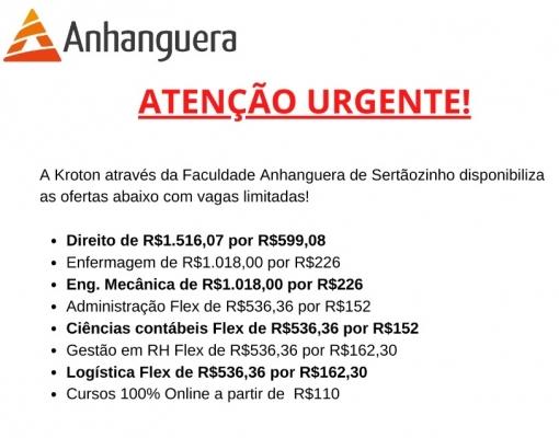 COMUNICADO ANHANGUERA CURSOS